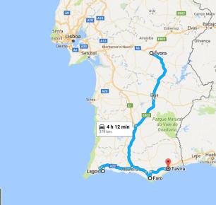 Cidades visitadas: Alentejo e Algarve (extremo sul).