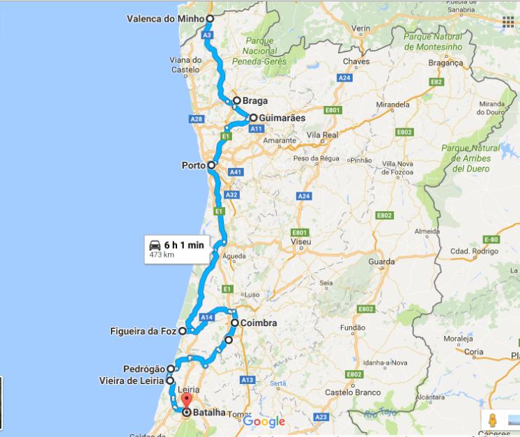 Valença do Minho, Braga, Guimarães, Porto, Figueira da Foz, Coimbra, Conimbriga, Pedrogão, Vieira de Leiria, Batalha.